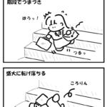 階段で盛大にコケる
